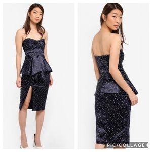 Bardot Strapless polkadot dress